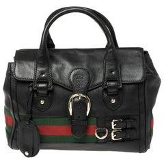 Gucci Black Leather Heritage Web Boston Bag