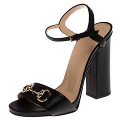 Gucci Black Leather Horsebit Ankle Strap Open Toe Block Heel Sandals Size 36