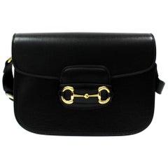 Gucci Black Leather Horsebit Bag