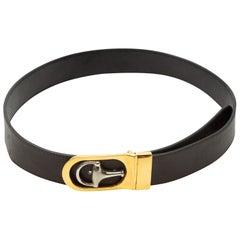 Gucci Black Leather Horsebit Belt
