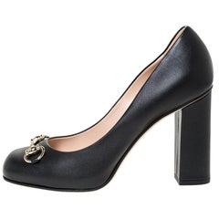 Gucci Black Leather Horsebit Block Heel Pumps Size 37.5