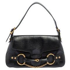 Gucci Black Leather Horsebit Flap Shoulder Bag