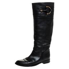 Gucci Black Leather Horsebit Knee Length Boots Size 37.5