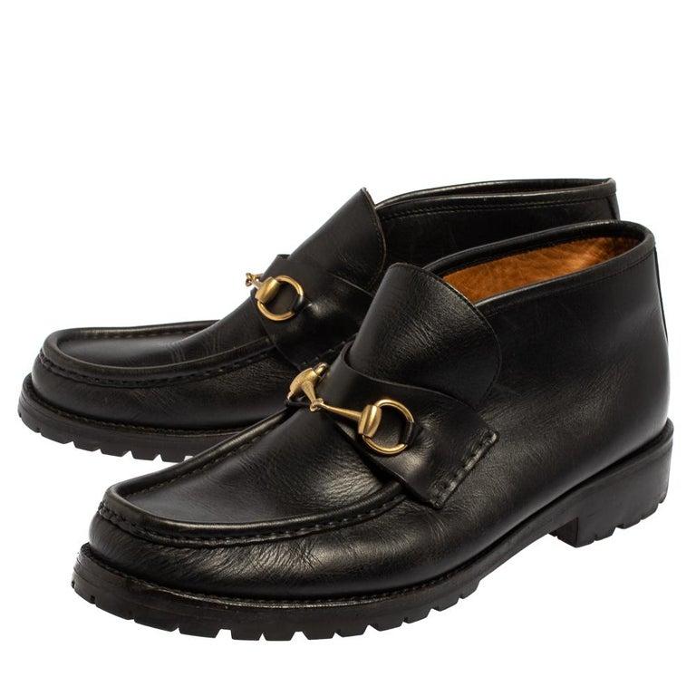 Gucci Black Leather Horsebit Loafer Size 46 In Good Condition For Sale In Dubai, Al Qouz 2