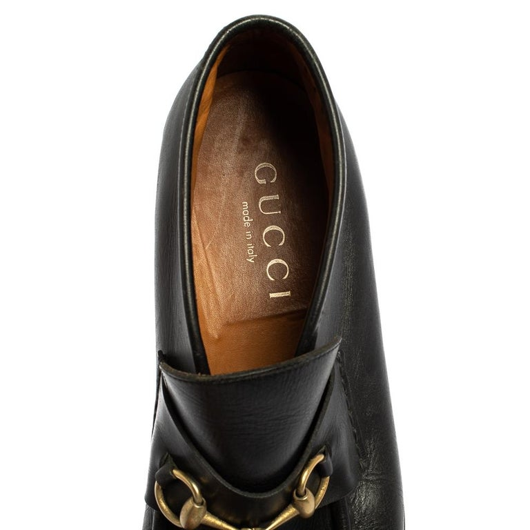 Gucci Black Leather Horsebit Loafer Size 46 For Sale 1