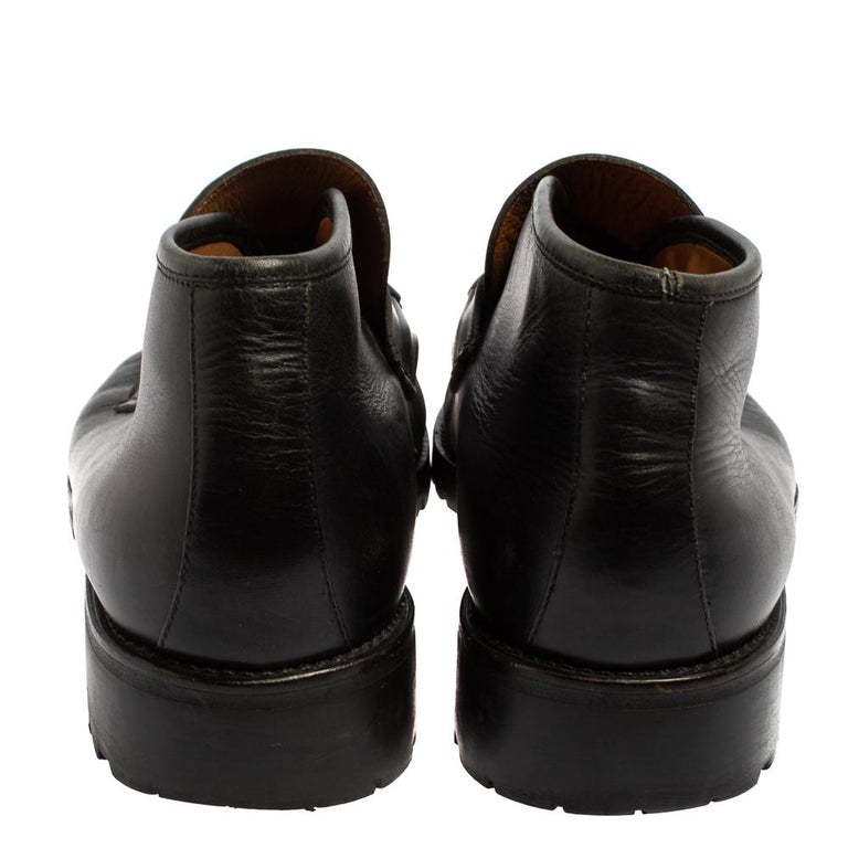 Gucci Black Leather Horsebit Loafer Size 46 For Sale 3