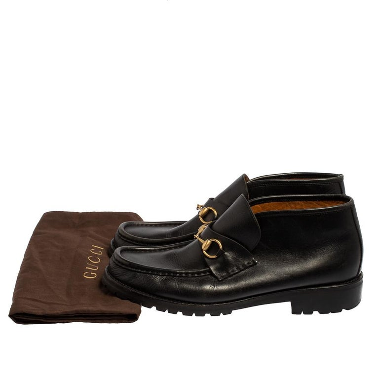 Gucci Black Leather Horsebit Loafer Size 46 For Sale 4