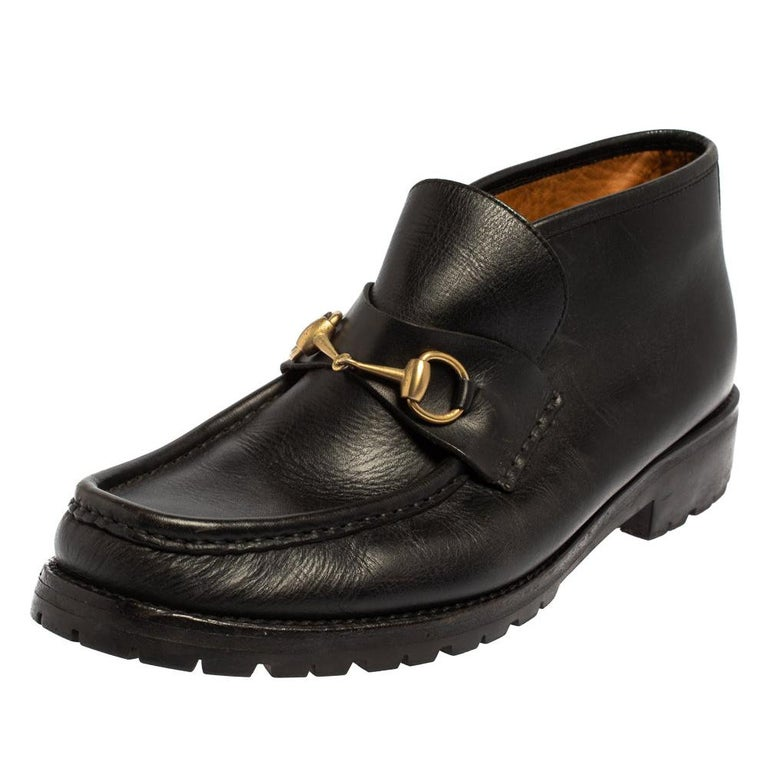 Gucci Black Leather Horsebit Loafer Size 46 For Sale