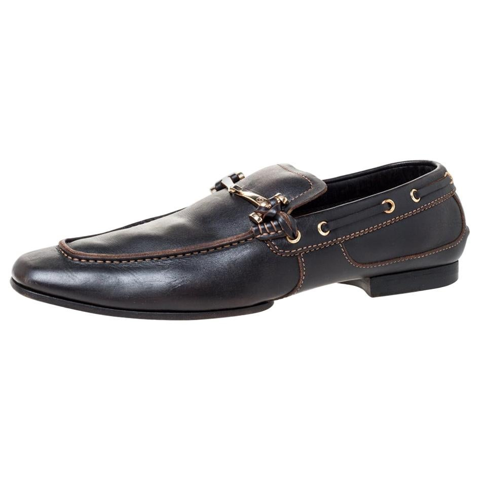 Gucci Black Leather Horsebit Loafers Size 43