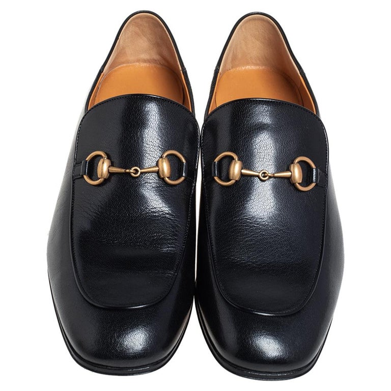 Women's Gucci Black Leather Horsebit Loafers Size 44.5 For Sale