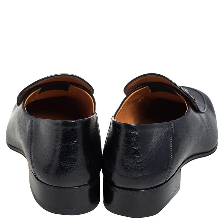 Gucci Black Leather Horsebit Loafers Size 44.5 For Sale 2