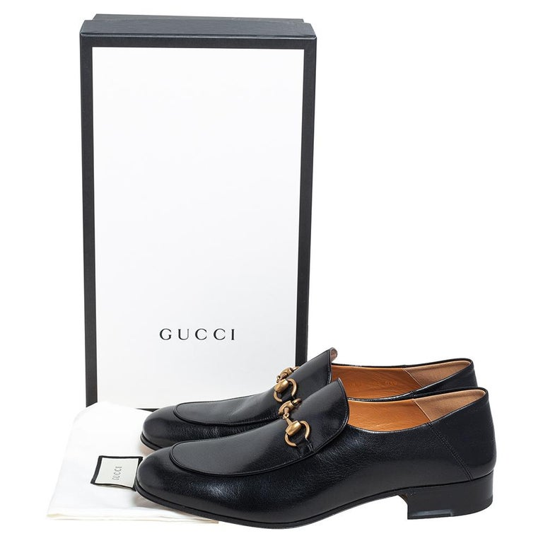 Gucci Black Leather Horsebit Loafers Size 44.5 For Sale 3