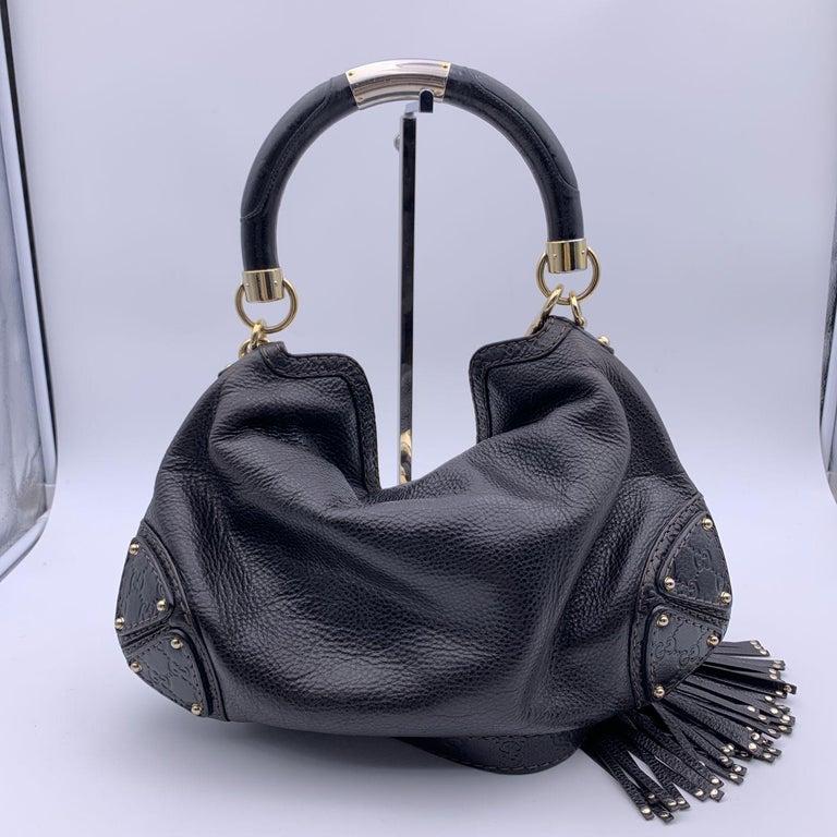 Gucci Black Leather Indy Hobo Bag Handbag with Tassels 1