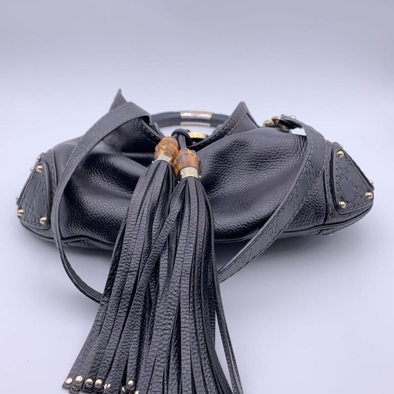 Gucci Black Leather Indy Hobo Bag Handbag with Tassels 2