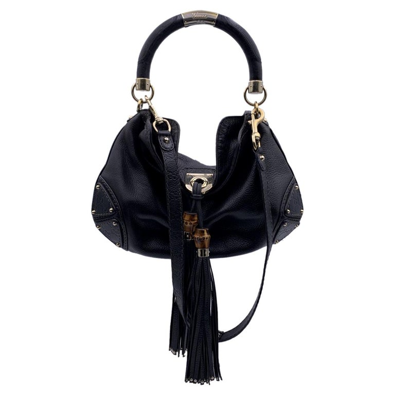Gucci Black Leather Indy Hobo Bag Handbag with Tassels