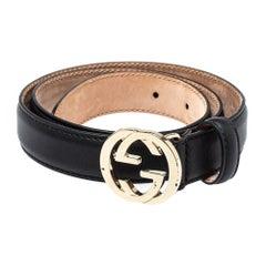 Gucci Black Leather Interlocking G Buckle Slim Belt 75CM