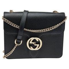 Gucci Black Leather Interlocking G Shoulder Bag