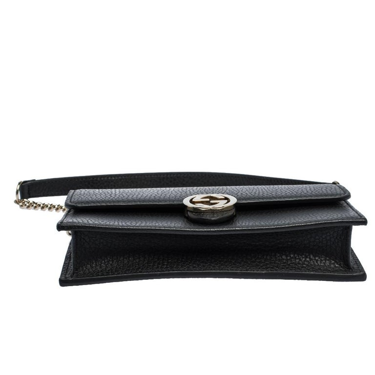 Gucci Black Leather Interlocking GG Wallet On Chain For Sale 1
