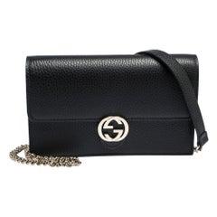Gucci Black Leather Interlocking GG Wallet On Chain