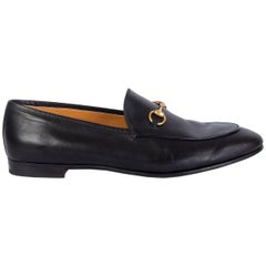 GUCCI black leather JORDAAN Horsebit Loafers Flats Shoes 42