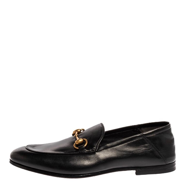 Exquisite and well-crafted, these Gucci loafers are worth owning. They have been crafted from leather and they come flaunting a black shade with Horsebit details on the uppers. The loafers are ideal to wear all day.  Includes:Original Dustbag,