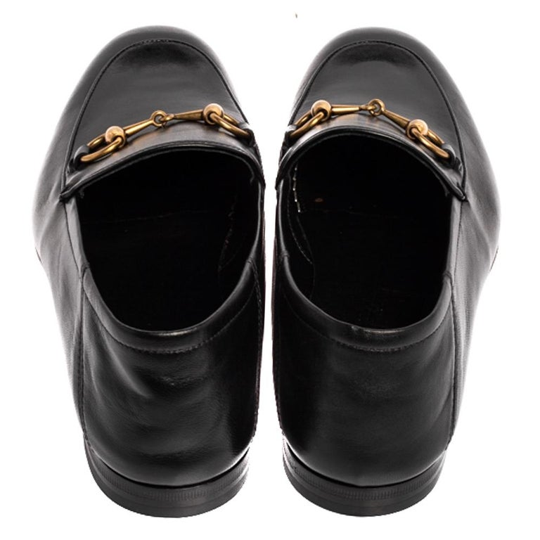 Men's Gucci Black Leather Jordaan Horsebit Slip On Loafers Size 40
