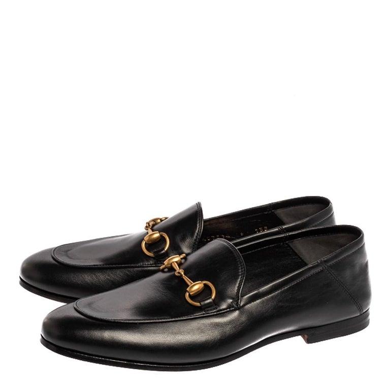 Gucci Black Leather Jordaan Horsebit Slip On Loafers Size 40 1