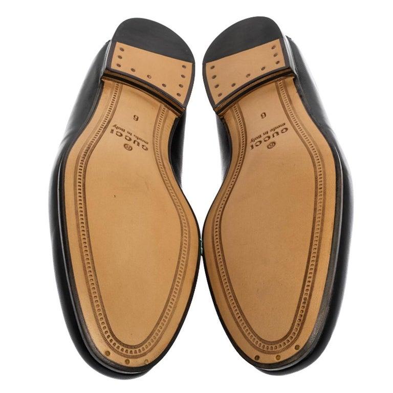 Gucci Black Leather Jordaan Horsebit Slip On Loafers Size 40 3