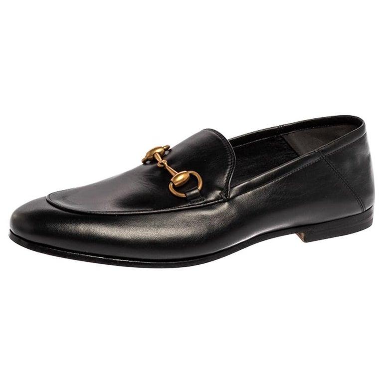 Gucci Black Leather Jordaan Horsebit Slip On Loafers Size 40