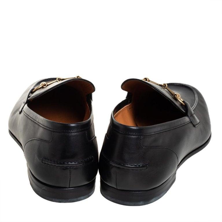 Gucci Black Leather Jordaan Loafers Size 46 In New Condition In Dubai, Al Qouz 2