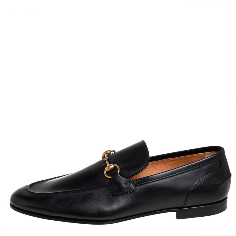 Gucci Black Leather Jordaan Loafers Size 46 1