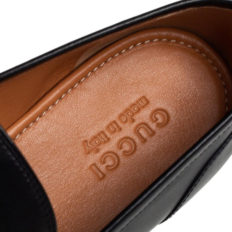 Gucci Black Leather Jordaan Loafers Size 46 2