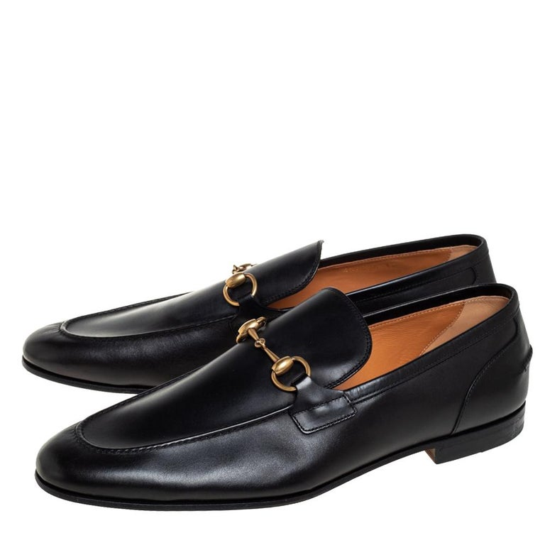 Gucci Black Leather Jordaan Loafers Size 46 3
