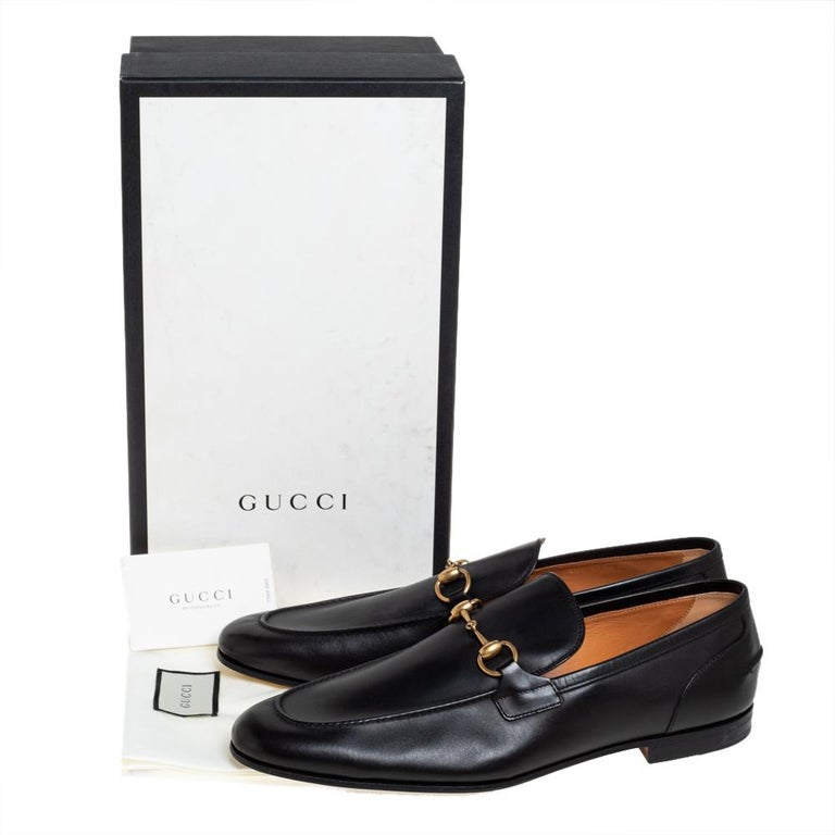Gucci Black Leather Jordaan Loafers Size 46 4