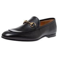 Gucci Black Leather Jordan Horsebit Slip On Loafers Size 41