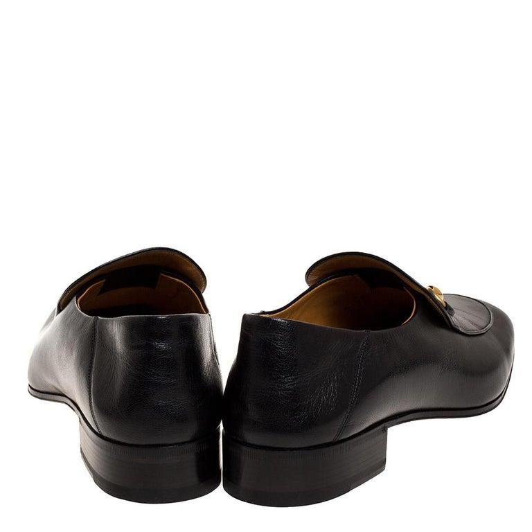 Gucci Black Leather Jordan Horsebit Slip On Loafers Size 44.5 In Excellent Condition For Sale In Dubai, Al Qouz 2