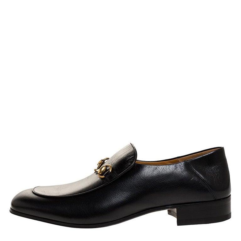 Gucci Black Leather Jordan Horsebit Slip On Loafers Size 44.5 For Sale 1