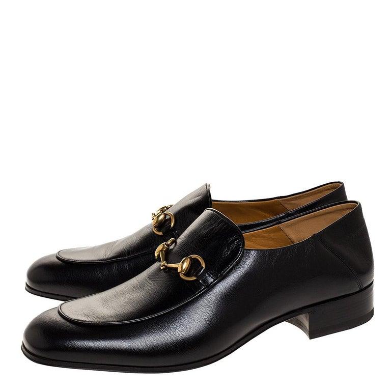 Gucci Black Leather Jordan Horsebit Slip On Loafers Size 44.5 For Sale 2