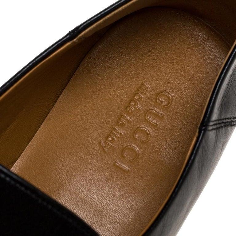 Gucci Black Leather Jordan Horsebit Slip On Loafers Size 44.5 For Sale 3