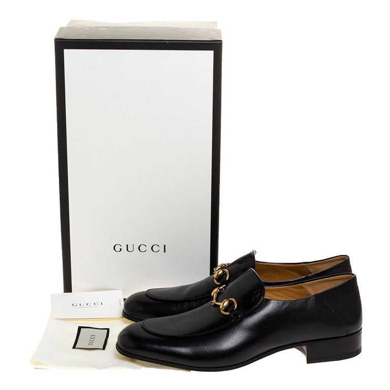 Gucci Black Leather Jordan Horsebit Slip On Loafers Size 44.5 For Sale 4