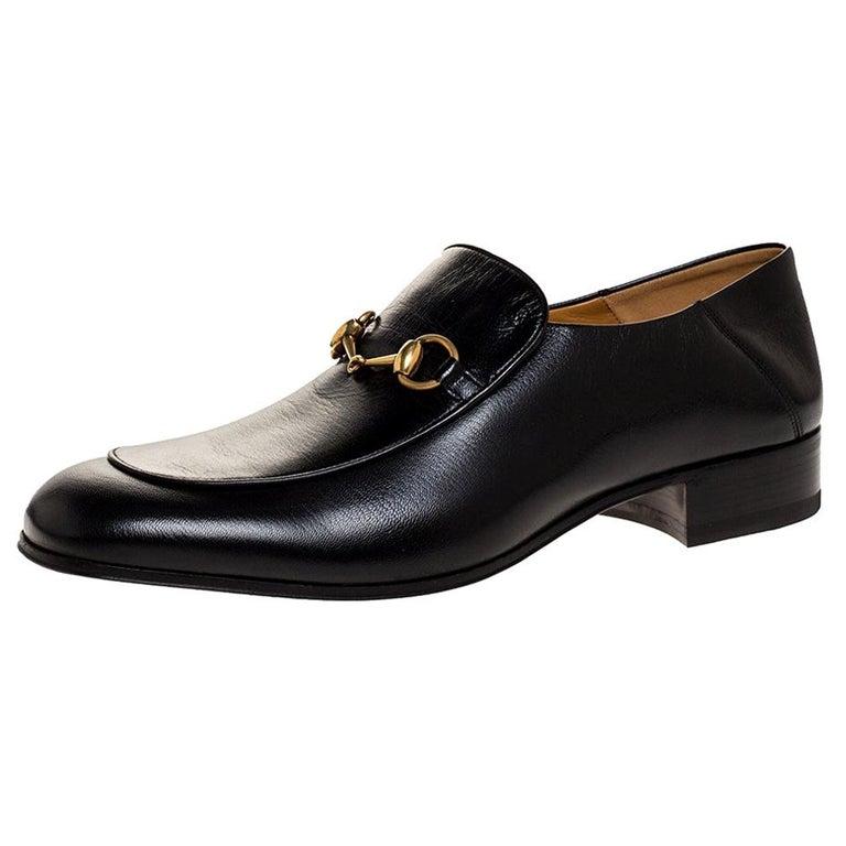 Gucci Black Leather Jordan Horsebit Slip On Loafers Size 44.5 For Sale