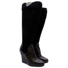 Gucci Black Leather & Knit Wedge Boots - Size EU 37.5 (Estimated)