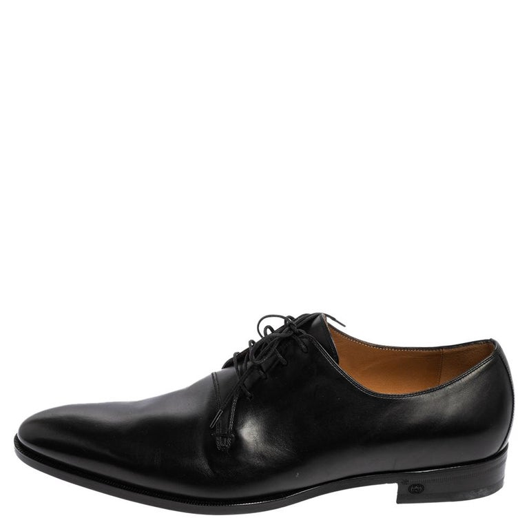 Gucci Black Leather Lace Up Derby Size 45 For Sale 1