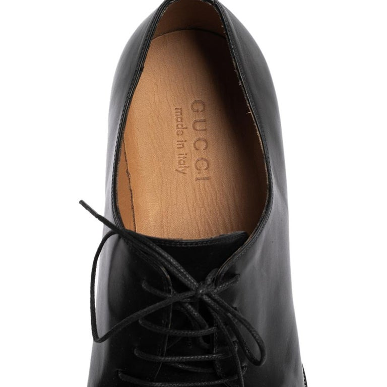 Gucci Black Leather Lace Up Derby Size 45 For Sale 2