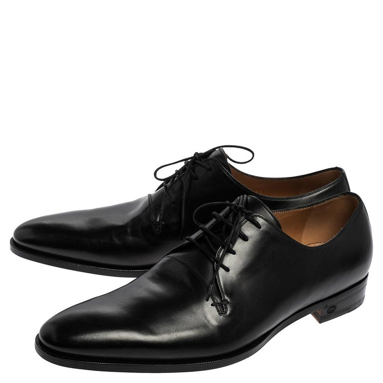 Gucci Black Leather Lace Up Derby Size 45 For Sale 3