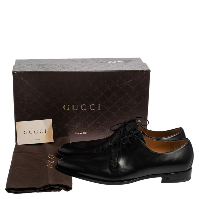 Gucci Black Leather Lace Up Derby Size 45 For Sale 4