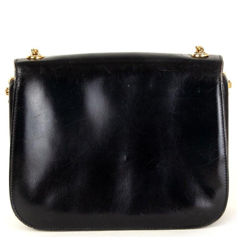 Black GUCCI black leather LAPIS EMBELLISHED VINTAGE Shoulder Bag