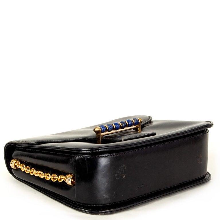 GUCCI black leather LAPIS EMBELLISHED VINTAGE Shoulder Bag In Fair Condition In Zürich, CH