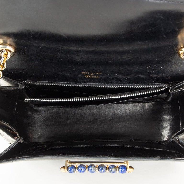 Women's GUCCI black leather LAPIS EMBELLISHED VINTAGE Shoulder Bag