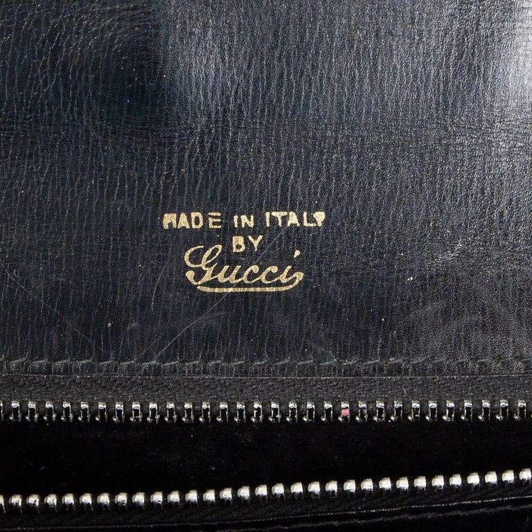 GUCCI black leather LAPIS EMBELLISHED VINTAGE Shoulder Bag 1